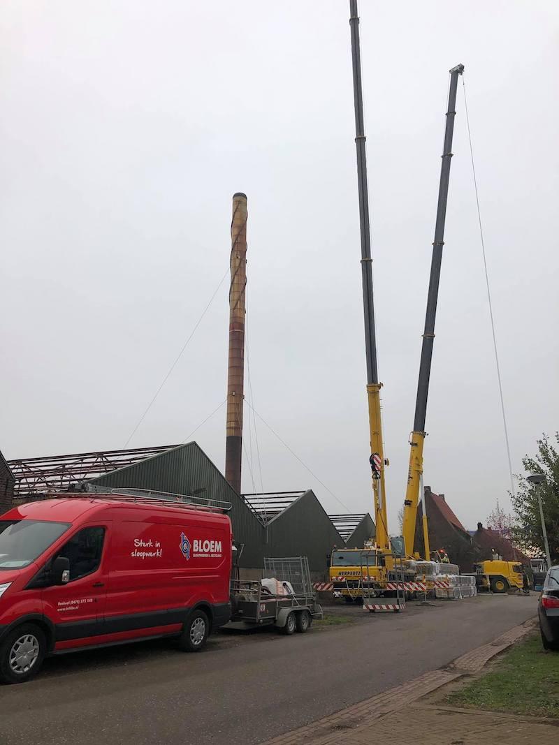 verwijderen 45 meter hoge schoorsteen | Bloem Sloopwerken & Recycling